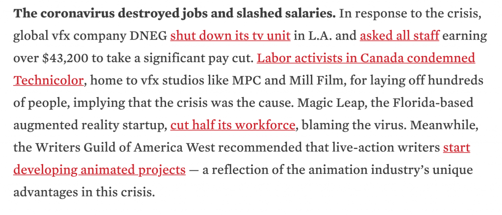 Screenshot of Cartoon Brew article that discusses how the coronavirus had destroyed job and slashed salaries.